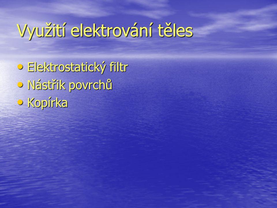 Využití elektrování těles Elektrostatický filtr Elektrostatický filtr Nástřik povrchů Nástřik povrchů Kopírka Kopírka