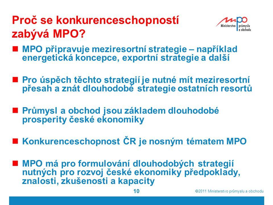  2011  Ministerstvo průmyslu a obchodu 10 Proč se konkurenceschopností zabývá MPO? MPO připravuje meziresortní strategie – například energetická ko