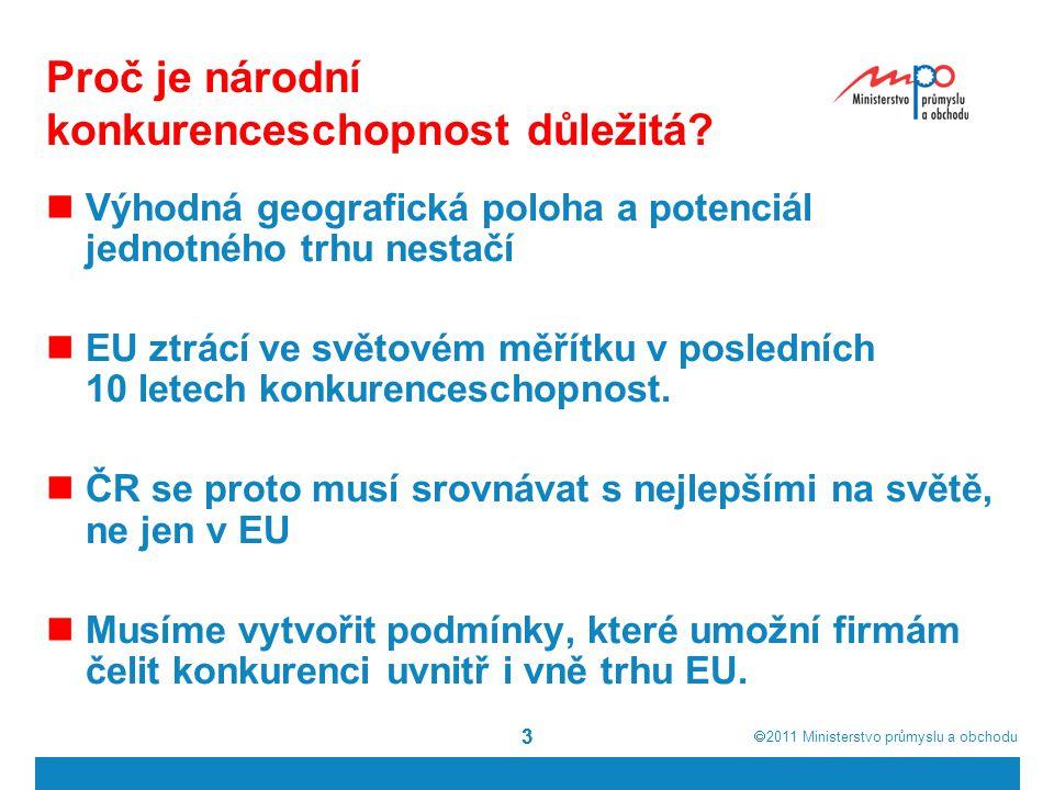  2011  Ministerstvo průmyslu a obchodu 33 Proč je národní konkurenceschopnost důležitá? Výhodná geografická poloha a potenciál jednotného trhu nest