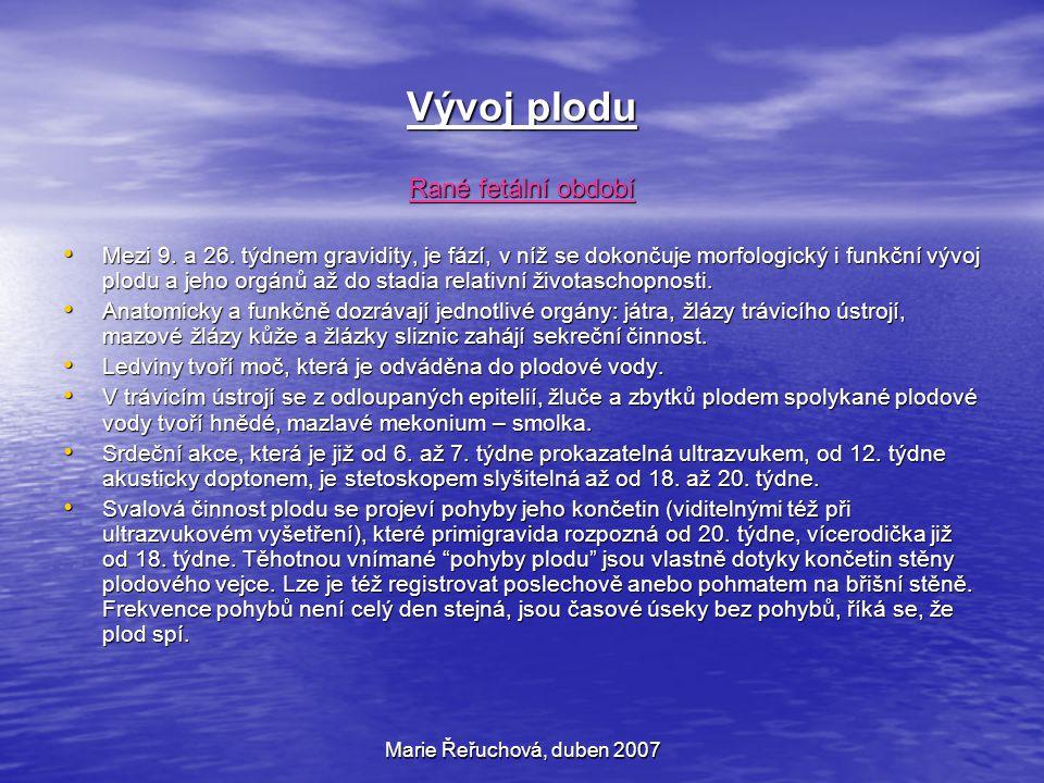 Marie Řeřuchová, duben 2007 Vývoj plodu Rané fetální období Mezi 9. a 26. týdnem gravidity, je fází, v níž se dokončuje morfologický i funkční vývoj p