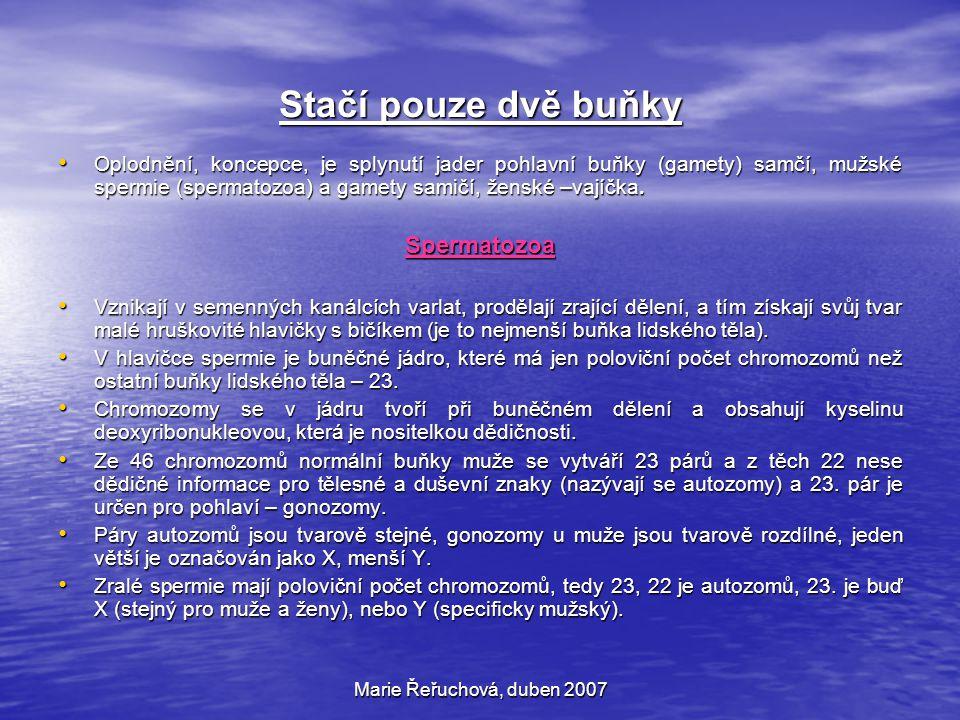 Marie Řeřuchová, duben 2007 Plodová voda Je to čirá tekutina, v termínu porodu někdy mírně mléčně zkalená, slabě alkalické reakce (pH 6,95 až 7,10).