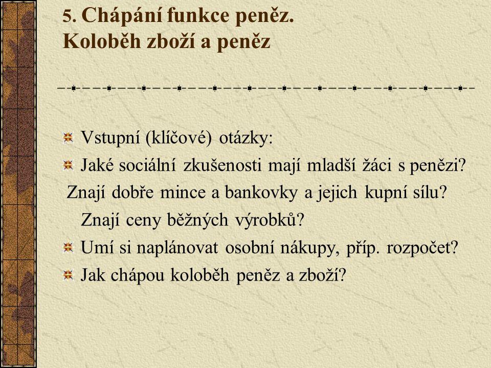 5. Chápání funkce peněz.