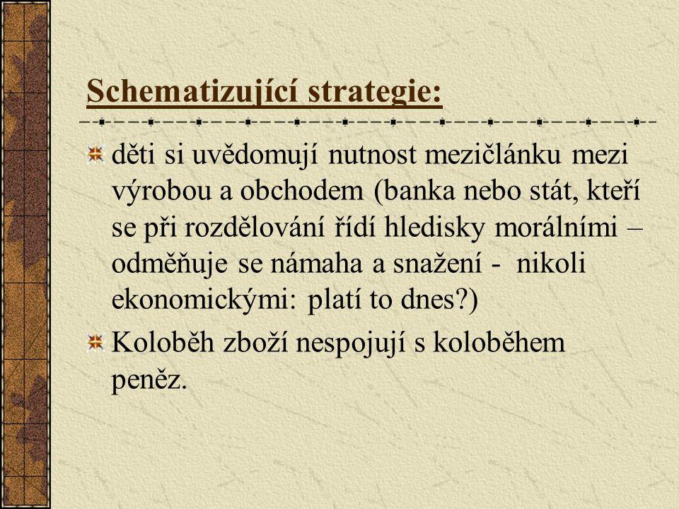 Schematizující strategie: děti si uvědomují nutnost mezičlánku mezi výrobou a obchodem (banka nebo stát, kteří se při rozdělování řídí hledisky morálními – odměňuje se námaha a snažení - nikoli ekonomickými: platí to dnes ) Koloběh zboží nespojují s koloběhem peněz.