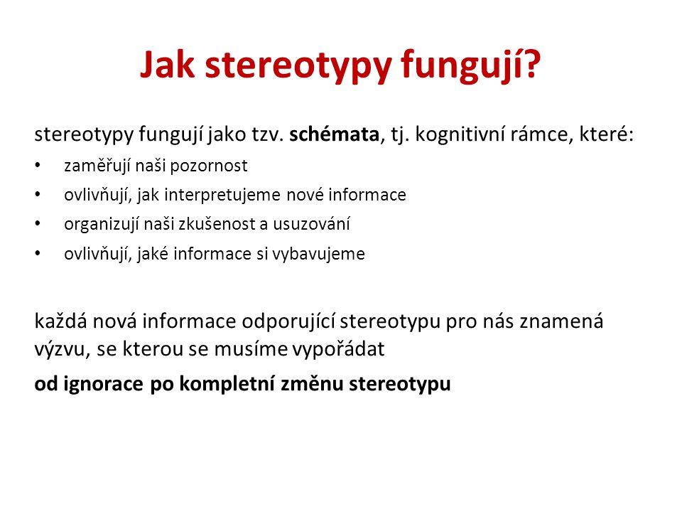 Jak stereotypy fungují? stereotypy fungují jako tzv. schémata, tj. kognitivní rámce, které: zaměřují naši pozornost ovlivňují, jak interpretujeme nové