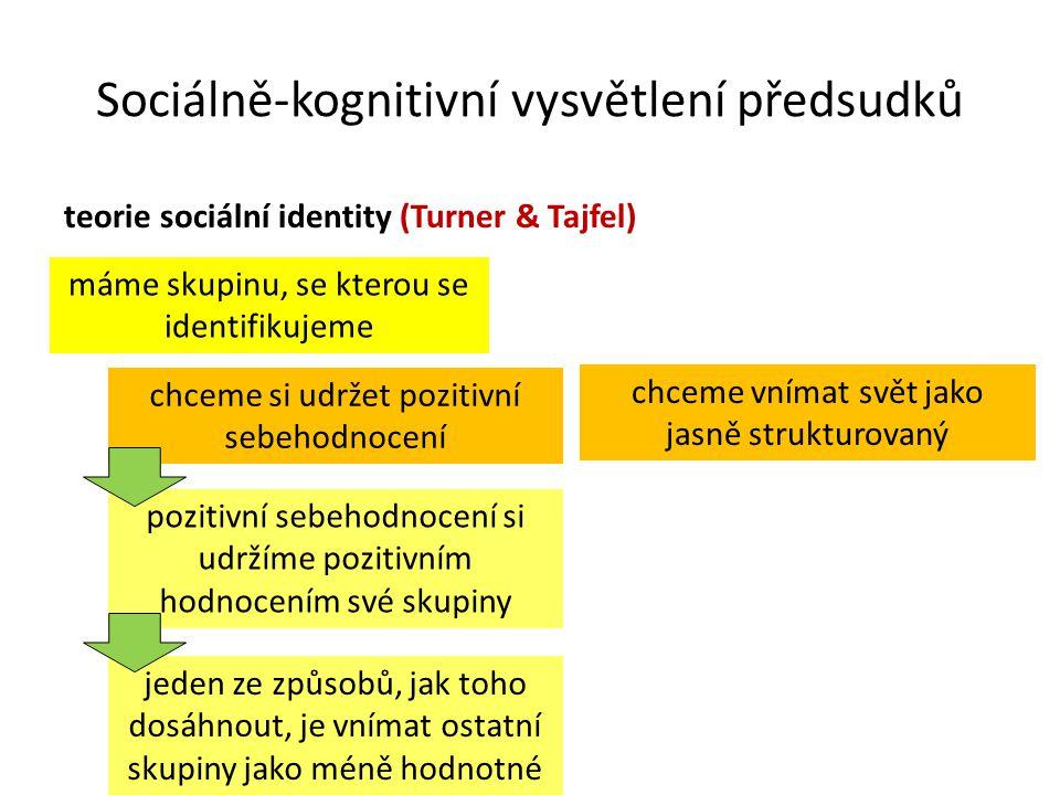Sociálně-kognitivní vysvětlení předsudků teorie sociální identity (Turner & Tajfel) máme skupinu, se kterou se identifikujeme pozitivní sebehodnocení