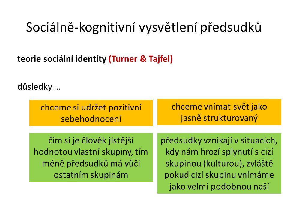 Sociálně-kognitivní vysvětlení předsudků teorie sociální identity (Turner & Tajfel) důsledky … chceme si udržet pozitivní sebehodnocení chceme vnímat svět jako jasně strukturovaný předsudky vznikají v situacích, kdy nám hrozí splynutí s cizí skupinou (kulturou), zvláště pokud cizí skupinu vnímáme jako velmi podobnou naší čím si je člověk jistější hodnotou vlastní skupiny, tím méně předsudků má vůči ostatním skupinám