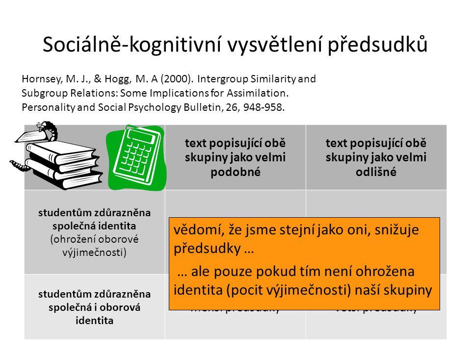 Sociálně-kognitivní vysvětlení předsudků text popisující obě skupiny jako velmi podobné text popisující obě skupiny jako velmi odlišné studentům zdůra