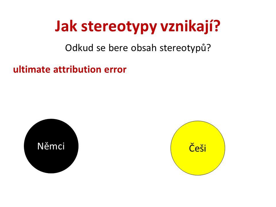 Jak stereotypy vznikají? Odkud se bere obsah stereotypů? ultimate attribution error Němci Češi
