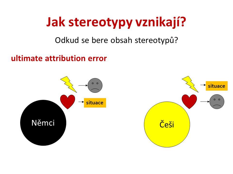 Jak stereotypy vznikají? Odkud se bere obsah stereotypů? ultimate attribution error Němci Češi situace