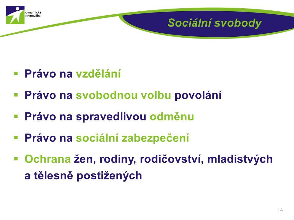 Sociální svobody  Právo na vzdělání  Právo na svobodnou volbu povolání  Právo na spravedlivou odměnu  Právo na sociální zabezpečení  Ochrana žen,