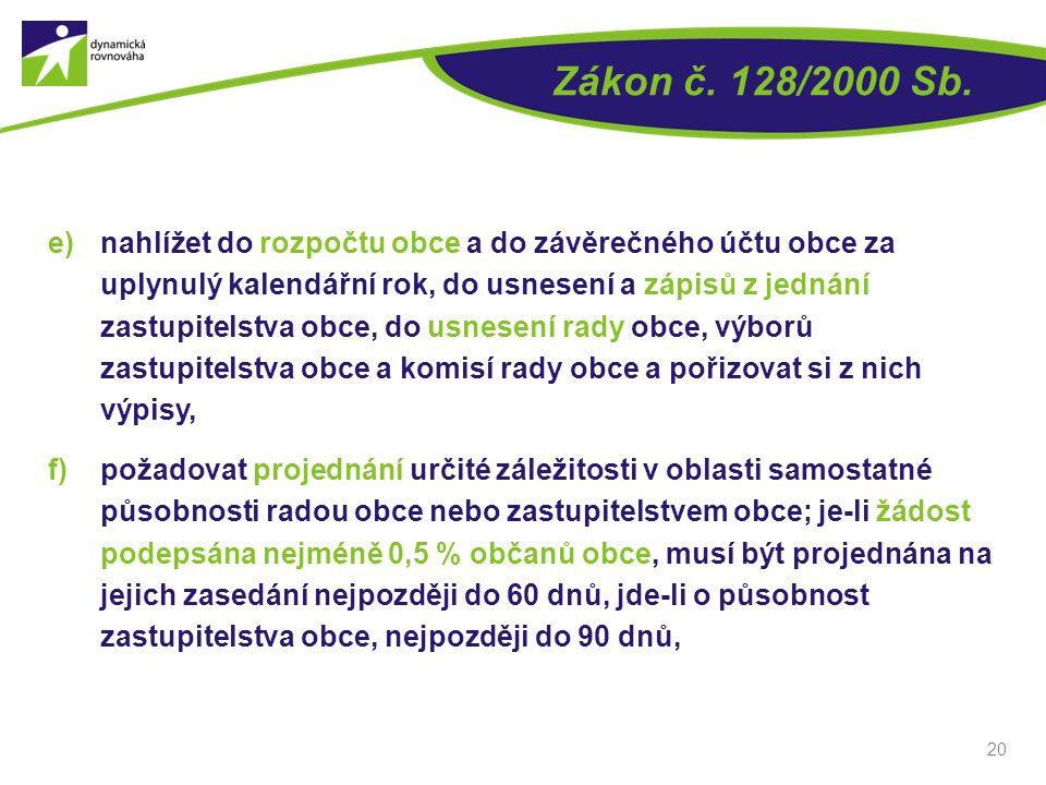 Zákon č. 128/2000 Sb. e)nahlížet do rozpočtu obce a do závěrečného účtu obce za uplynulý kalendářní rok, do usnesení a zápisů z jednání zastupitelstva