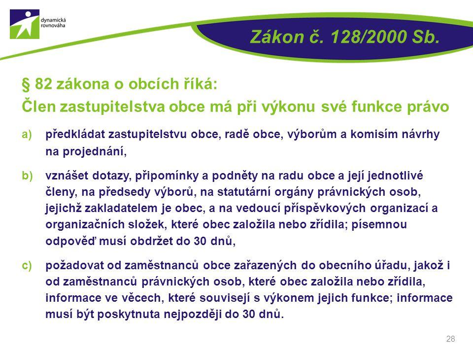 Zákon č. 128/2000 Sb. § 82 zákona o obcích říká: Člen zastupitelstva obce má při výkonu své funkce právo a)předkládat zastupitelstvu obce, radě obce,