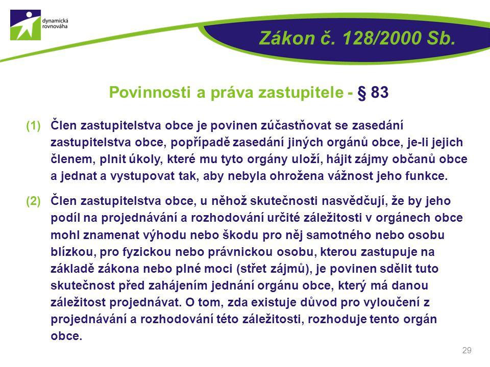 29 Zákon č. 128/2000 Sb. Povinnosti a práva zastupitele - § 83 (1)Člen zastupitelstva obce je povinen zúčastňovat se zasedání zastupitelstva obce, pop