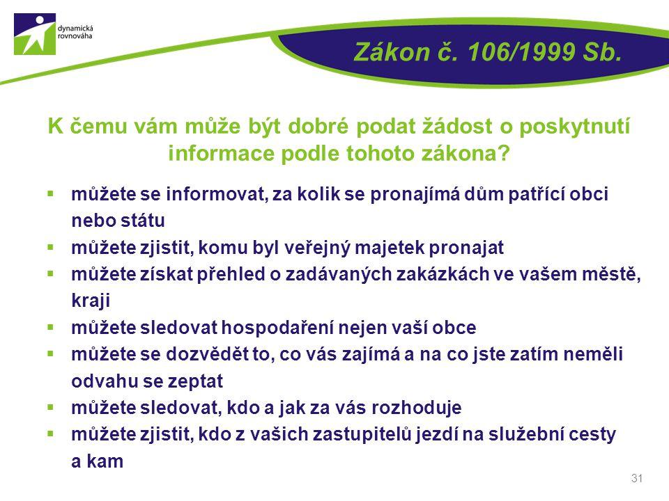 Zákon č. 106/1999 Sb.  můžete se informovat, za kolik se pronajímá dům patřící obci nebo státu  můžete zjistit, komu byl veřejný majetek pronajat 