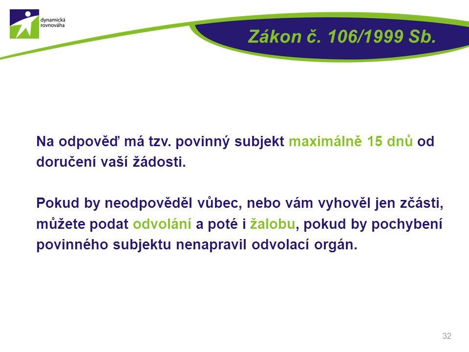 Zákon č. 106/1999 Sb. Na odpověď má tzv. povinný subjekt maximálně 15 dnů od doručení vaší žádosti. Pokud by neodpověděl vůbec, nebo vám vyhověl jen z