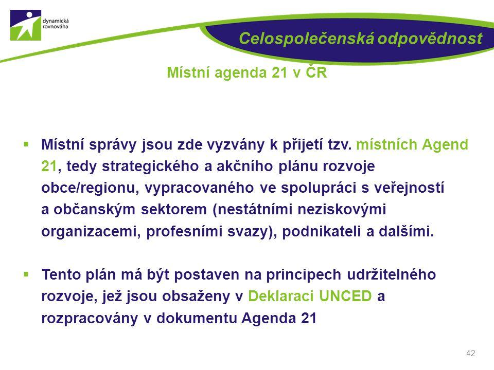 Celospolečenská odpovědnost  Místní správy jsou zde vyzvány k přijetí tzv. místních Agend 21, tedy strategického a akčního plánu rozvoje obce/regionu