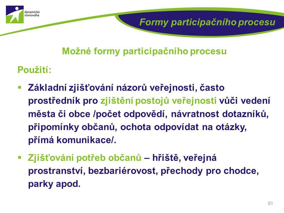 61 Formy participačního procesu Možné formy participačního procesu Použití:  Základní zjišťování názorů veřejnosti, často prostředník pro zjištění po