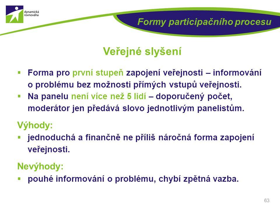 63 Formy participačního procesu Veřejné slyšení  Forma pro první stupeň zapojení veřejnosti – informování o problému bez možnosti přímých vstupů veře