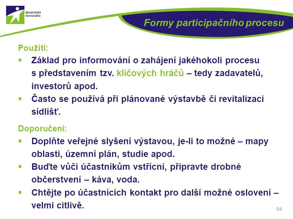 Formy participačního procesu Použití:  Základ pro informování o zahájení jakéhokoli procesu s představením tzv. klíčových hráčů – tedy zadavatelů, in
