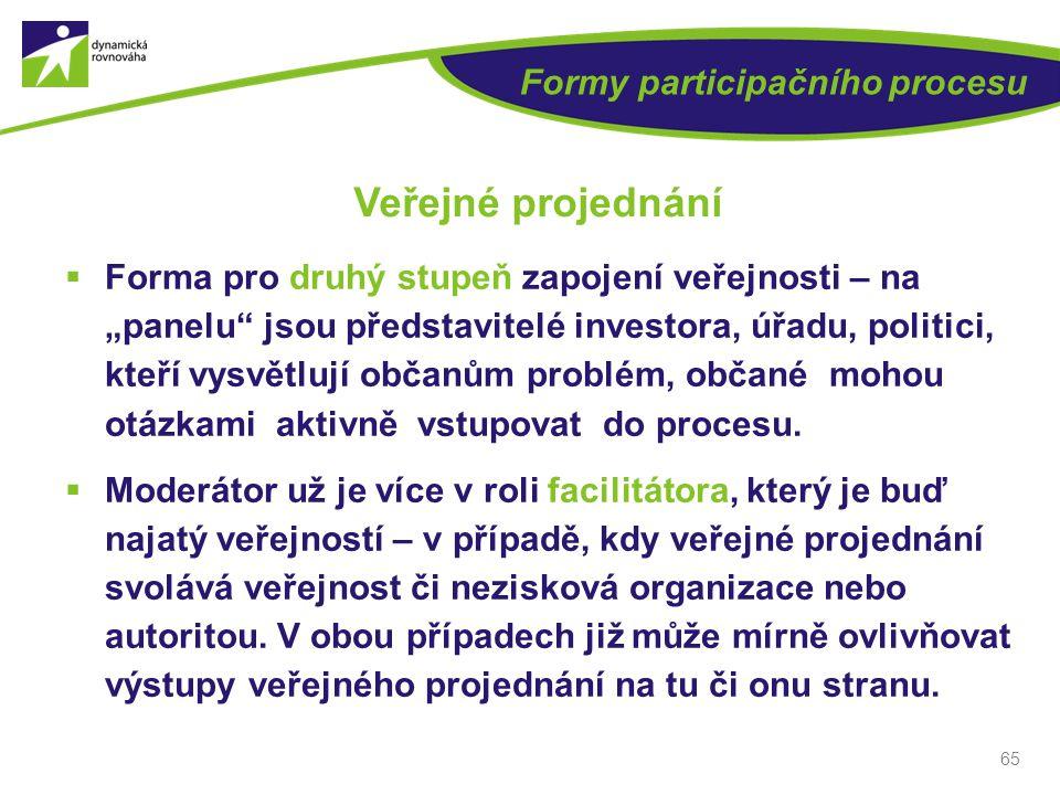 """65 Formy participačního procesu Veřejné projednání  Forma pro druhý stupeň zapojení veřejnosti – na """"panelu"""" jsou představitelé investora, úřadu, pol"""