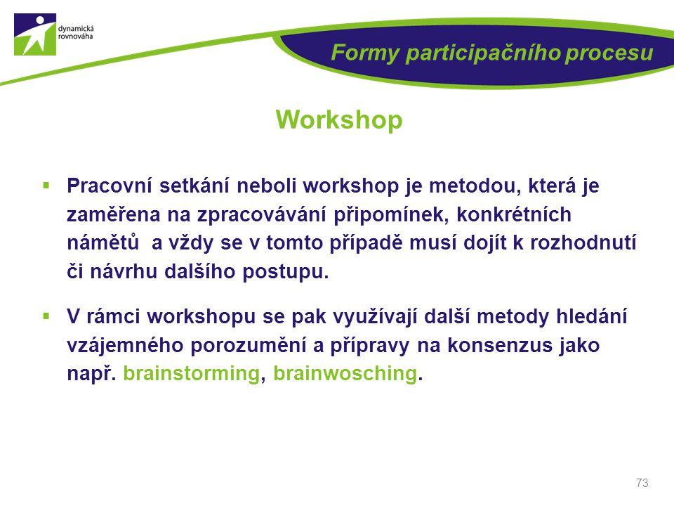 73 Formy participačního procesu Workshop  Pracovní setkání neboli workshop je metodou, která je zaměřena na zpracovávání připomínek, konkrétních námě