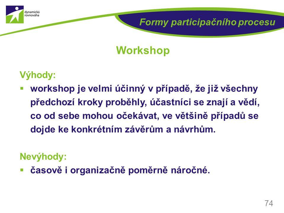 Formy participačního procesu Výhody:  workshop je velmi účinný v případě, že již všechny předchozí kroky proběhly, účastníci se znají a vědí, co od s