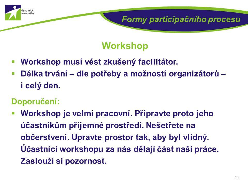Formy participačního procesu  Workshop musí vést zkušený facilitátor.  Délka trvání – dle potřeby a možností organizátorů – i celý den. Doporučení: