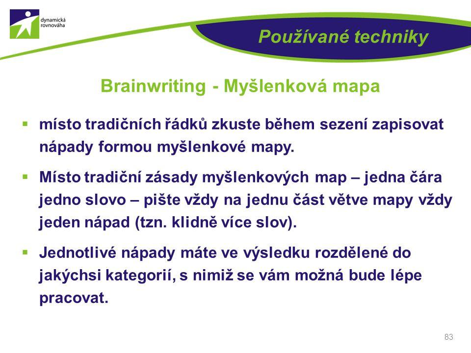 Používané techniky  místo tradičních řádků zkuste během sezení zapisovat nápady formou myšlenkové mapy.  Místo tradiční zásady myšlenkových map – je