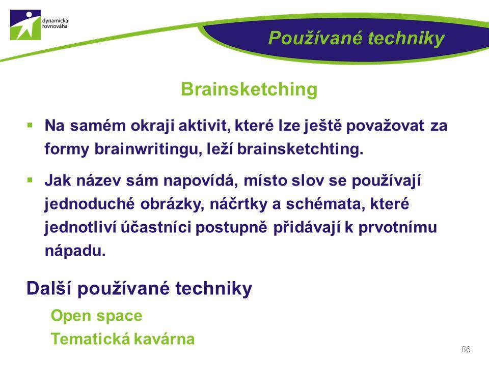 Používané techniky  Na samém okraji aktivit, které lze ještě považovat za formy brainwritingu, leží brainsketchting.  Jak název sám napovídá, místo