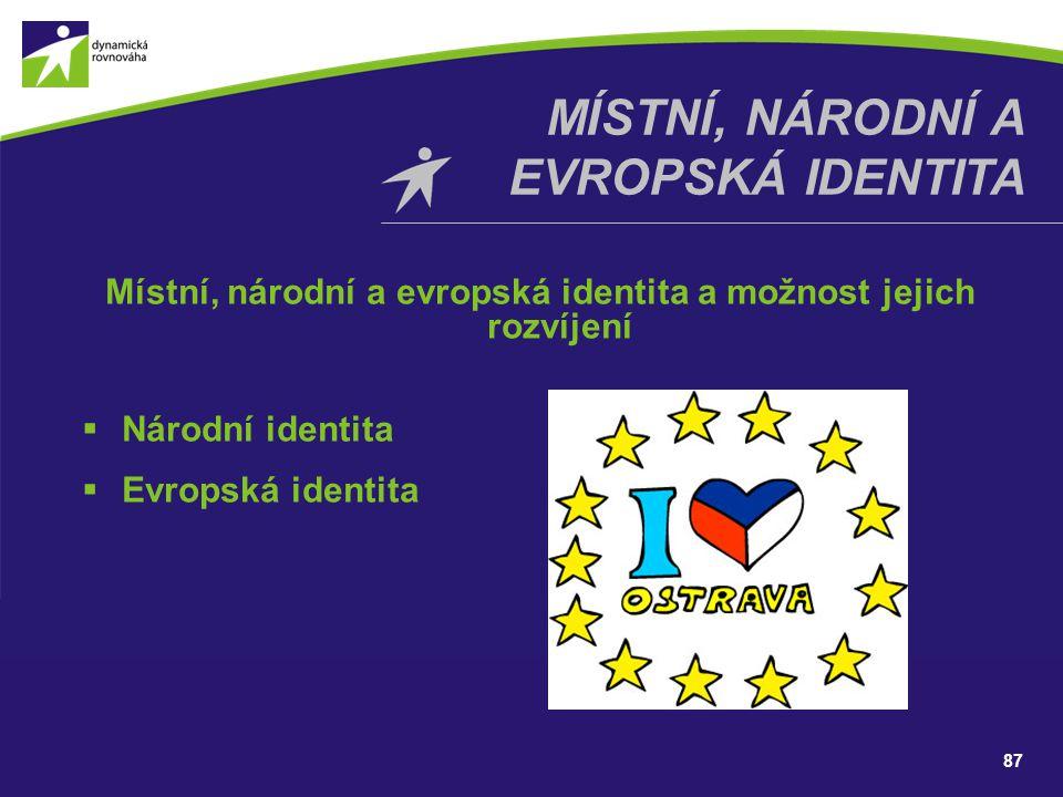87 MÍSTNÍ, NÁRODNÍ A EVROPSKÁ IDENTITA Místní, národní a evropská identita a možnost jejich rozvíjení  Národní identita  Evropská identita
