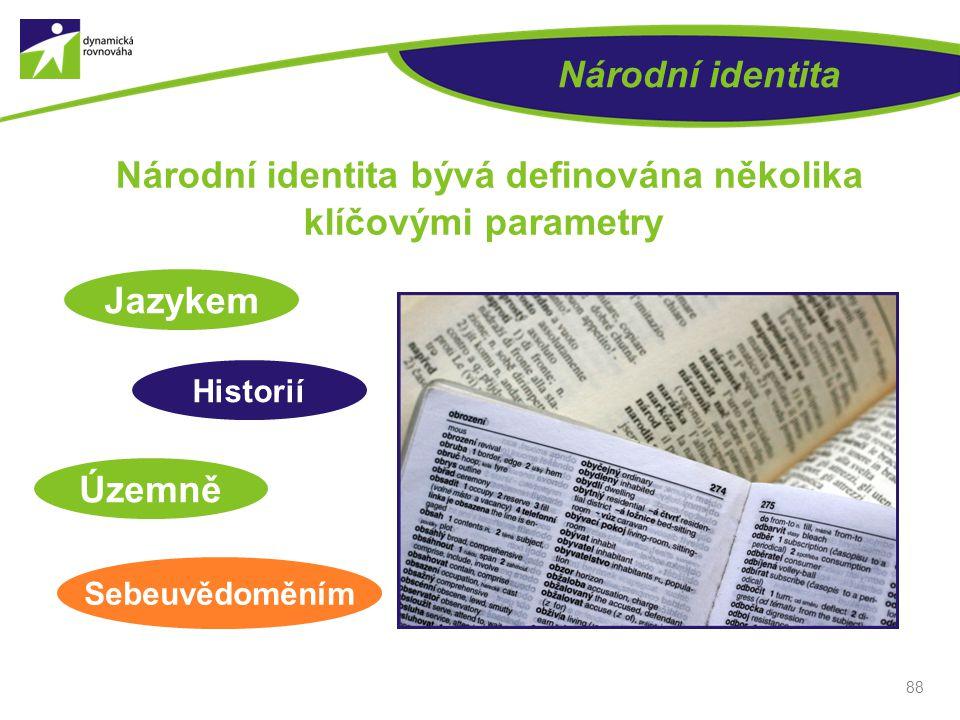 Národní identita 88 Národní identita bývá definována několika klíčovými parametry Jazykem Historií Územně Sebeuvědoměním