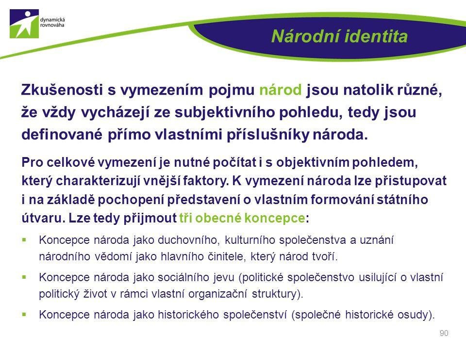 Národní identita Zkušenosti s vymezením pojmu národ jsou natolik různé, že vždy vycházejí ze subjektivního pohledu, tedy jsou definované přímo vlastní