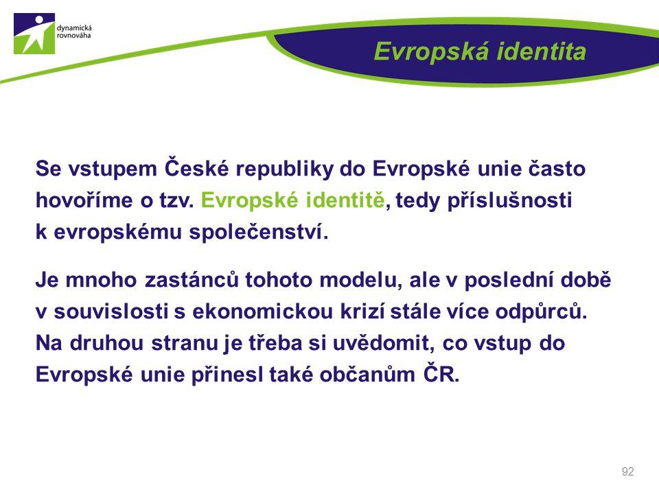 Evropská identita Se vstupem České republiky do Evropské unie často hovoříme o tzv. Evropské identitě, tedy příslušnosti k evropskému společenství. Je