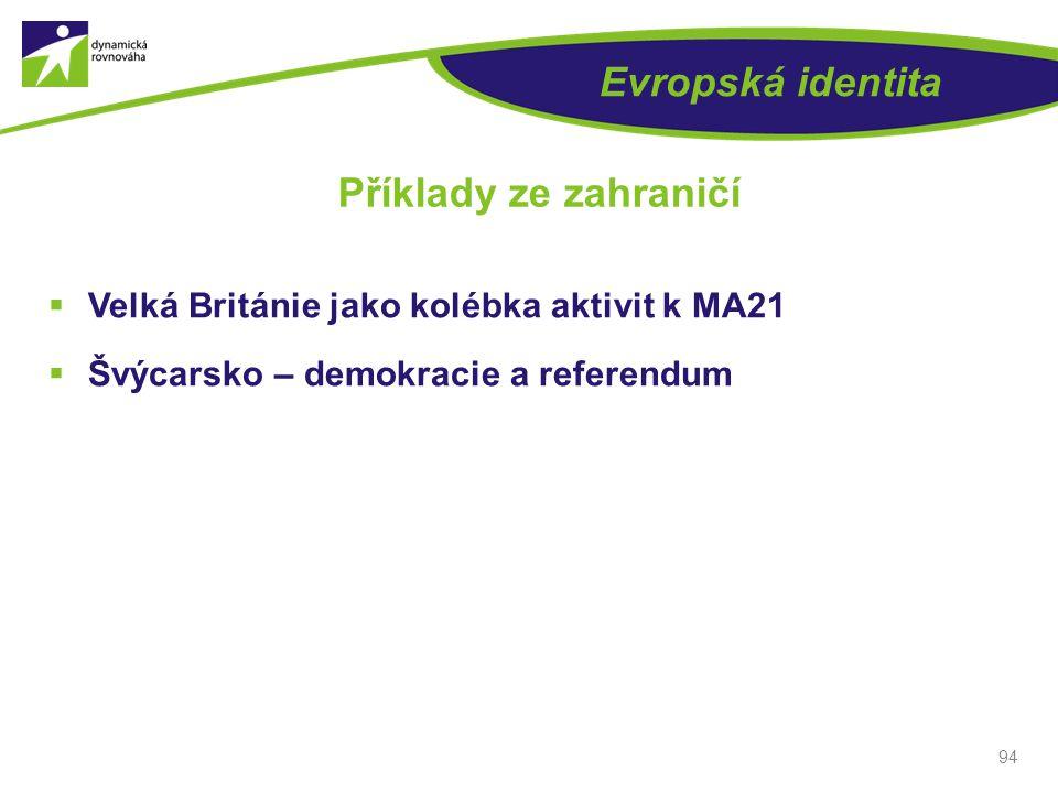 Evropská identita  Velká Británie jako kolébka aktivit k MA21  Švýcarsko – demokracie a referendum 94 Příklady ze zahraničí