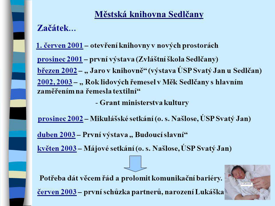Začátek … Městská knihovna Sedlčany 1. červen 2001 – otevření knihovny v nových prostorách červen 2003 – první schůzka partnerů, narození Lukáška Potř