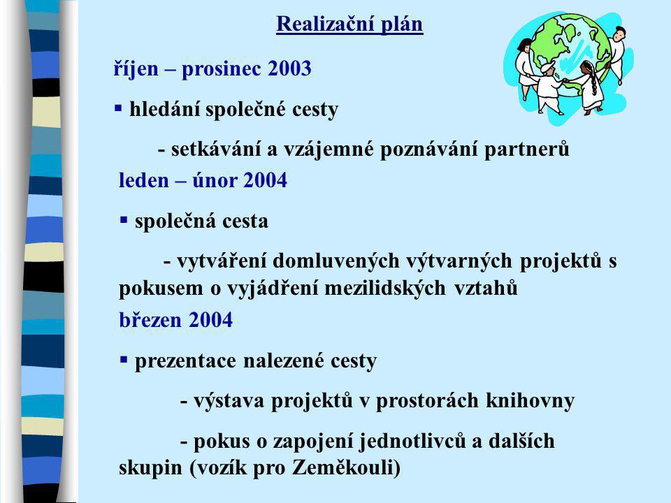 Realizační plán říjen – prosinec 2003  hledání společné cesty - setkávání a vzájemné poznávání partnerů leden – únor 2004  společná cesta - vytvářen