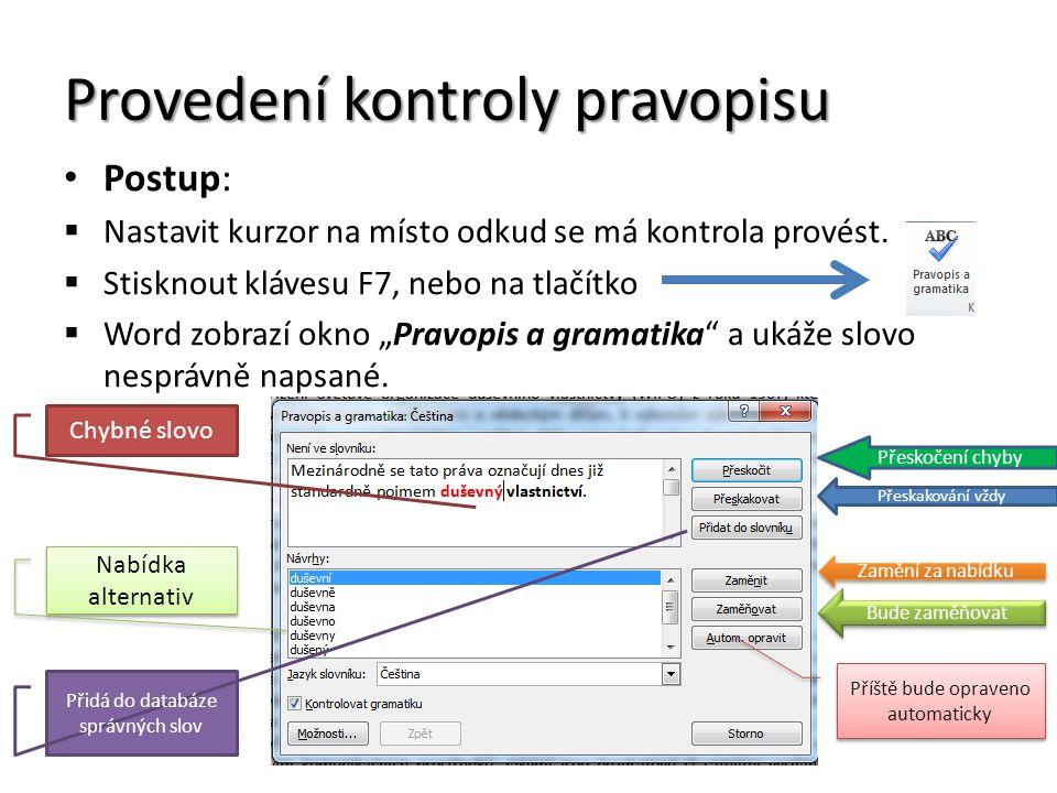Provedení kontroly pravopisu Postup:  Nastavit kurzor na místo odkud se má kontrola provést.