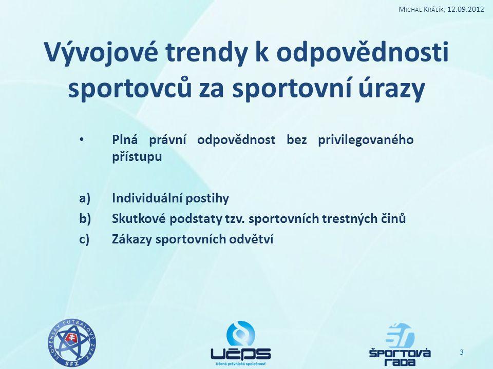 Vývojové trendy k odpovědnosti sportovců za sportovní úrazy Plná právní odpovědnost bez privilegovaného přístupu a)Individuální postihy b)Skutkové podstaty tzv.