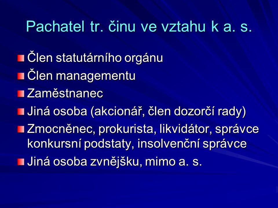 Pachatel tr.činu ve vztahu k a. s.