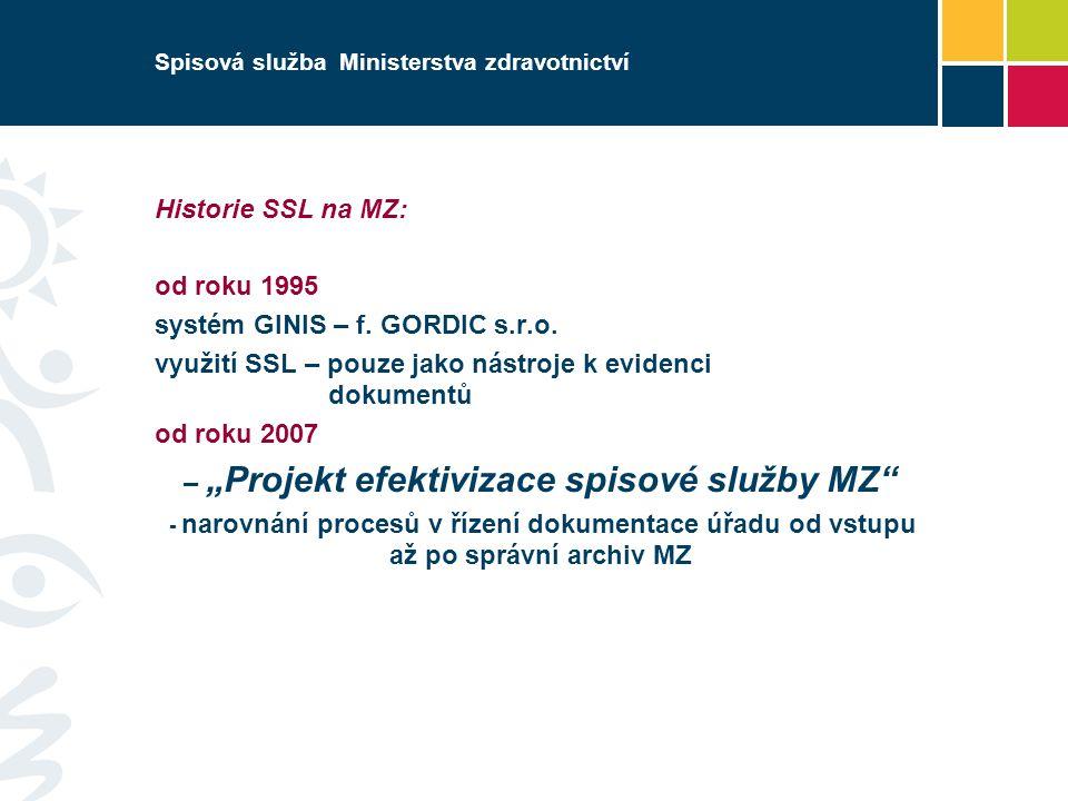 Spisová služba Ministerstva zdravotnictví Historie SSL na MZ: od roku 1995 systém GINIS – f.