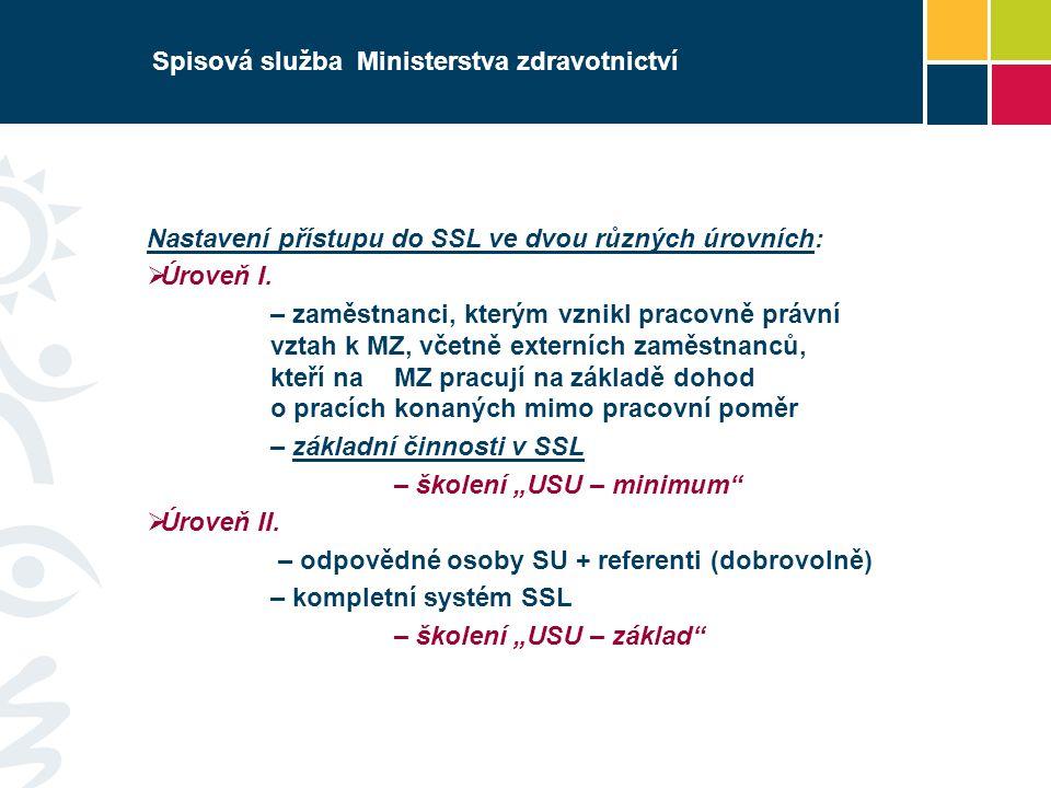 Spisová služba Ministerstva zdravotnictví Nastavení přístupu do SSL ve dvou různých úrovních:  Úroveň I.