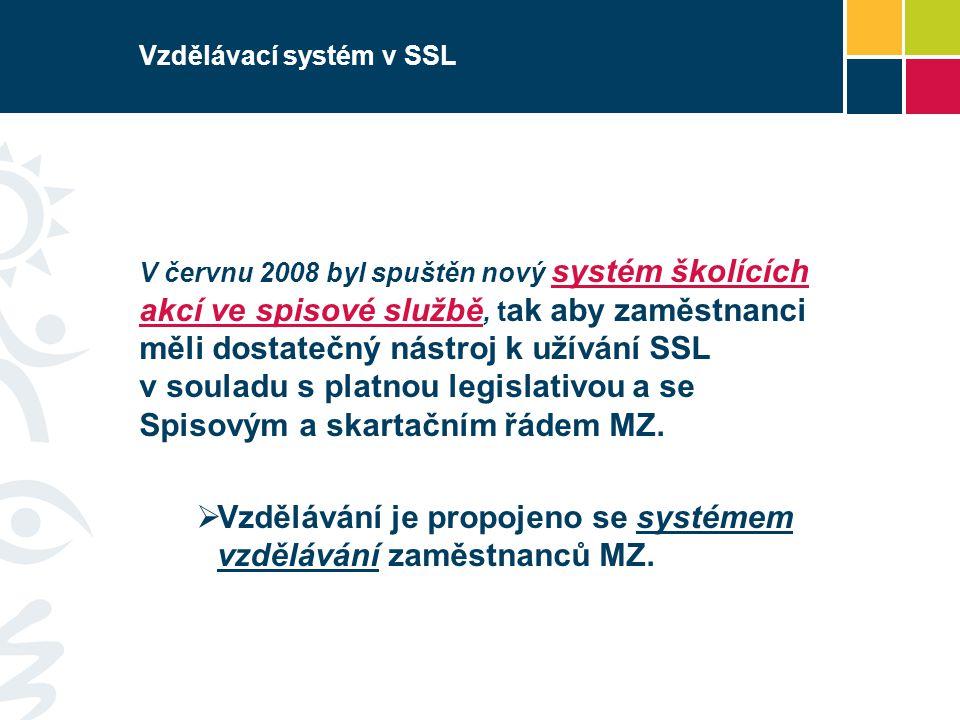 Vzdělávací systém v SSL V červnu 2008 byl spuštěn nový systém školících akcí ve spisové službě, t ak aby zaměstnanci měli dostatečný nástroj k užívání SSL v souladu s platnou legislativou a se Spisovým a skartačním řádem MZ.