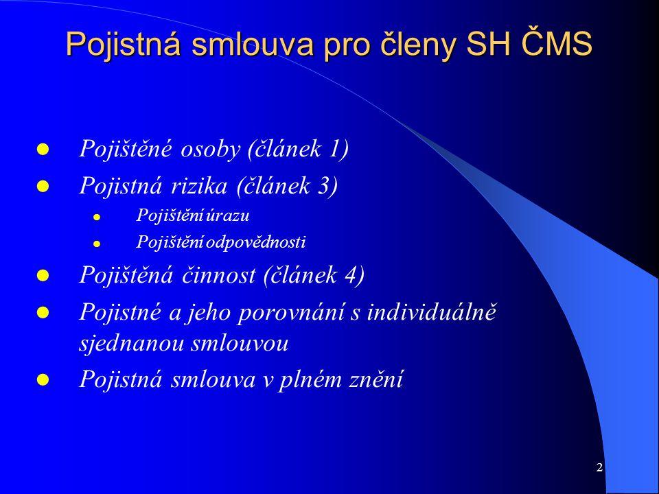 2 Pojistná smlouva pro členy SH ČMS Pojištěné osoby (článek 1) Pojistná rizika (článek 3) Pojištění úrazu Pojištění odpovědnosti Pojištěná činnost (čl