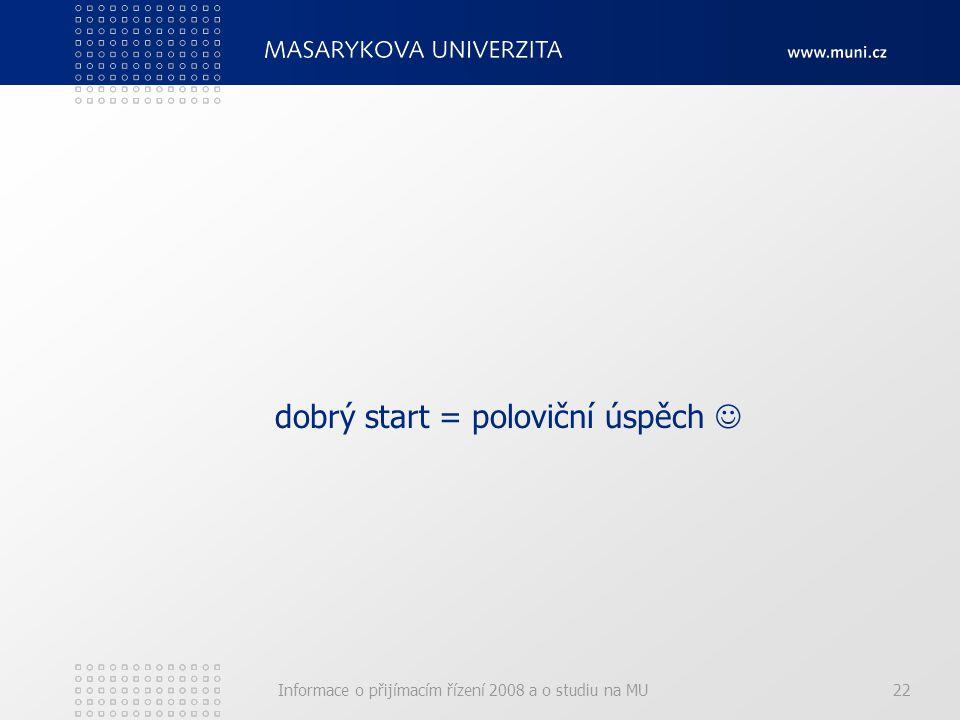 Informace o přijímacím řízení 2008 a o studiu na MU22 dobrý start = poloviční úspěch