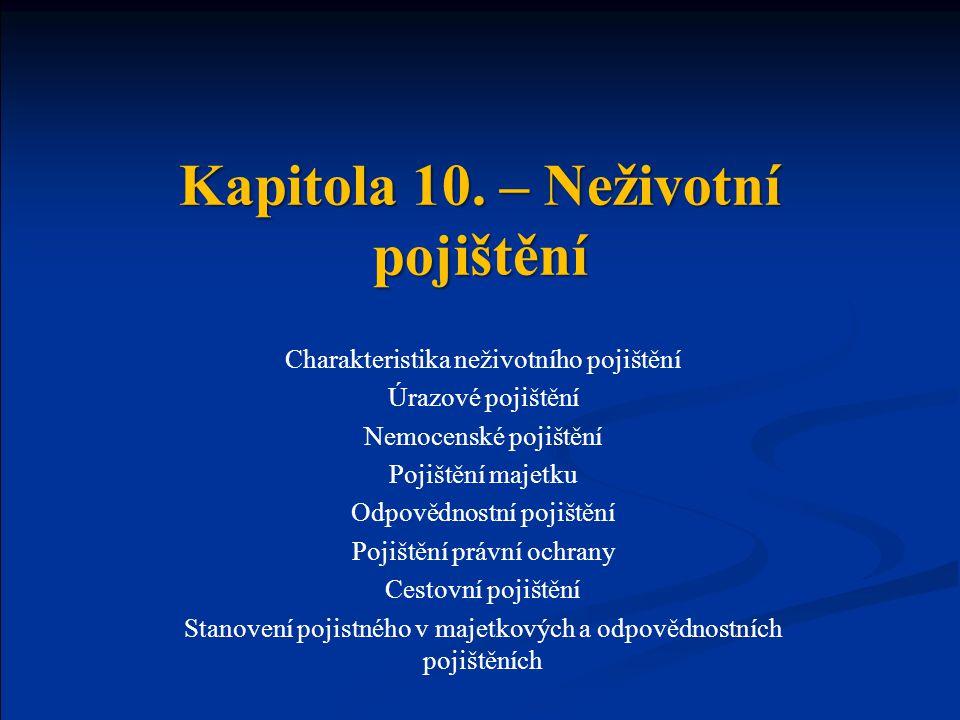 Kapitola 10. – Neživotní pojištění Charakteristika neživotního pojištění Úrazové pojištění Nemocenské pojištění Pojištění majetku Odpovědnostní pojišt