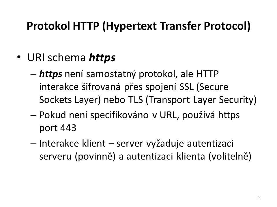 Protokol HTTP (Hypertext Transfer Protocol) URI schema https – https není samostatný protokol, ale HTTP interakce šifrovaná přes spojení SSL (Secure S