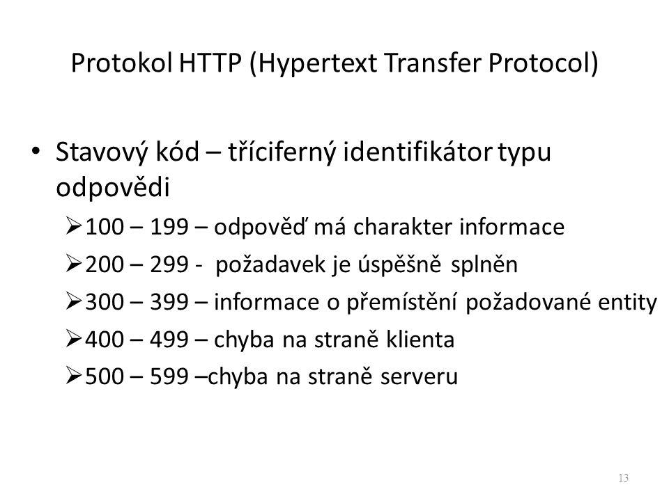 Protokol HTTP (Hypertext Transfer Protocol) Stavový kód – tříciferný identifikátor typu odpovědi  100 – 199 – odpověď má charakter informace  200 –