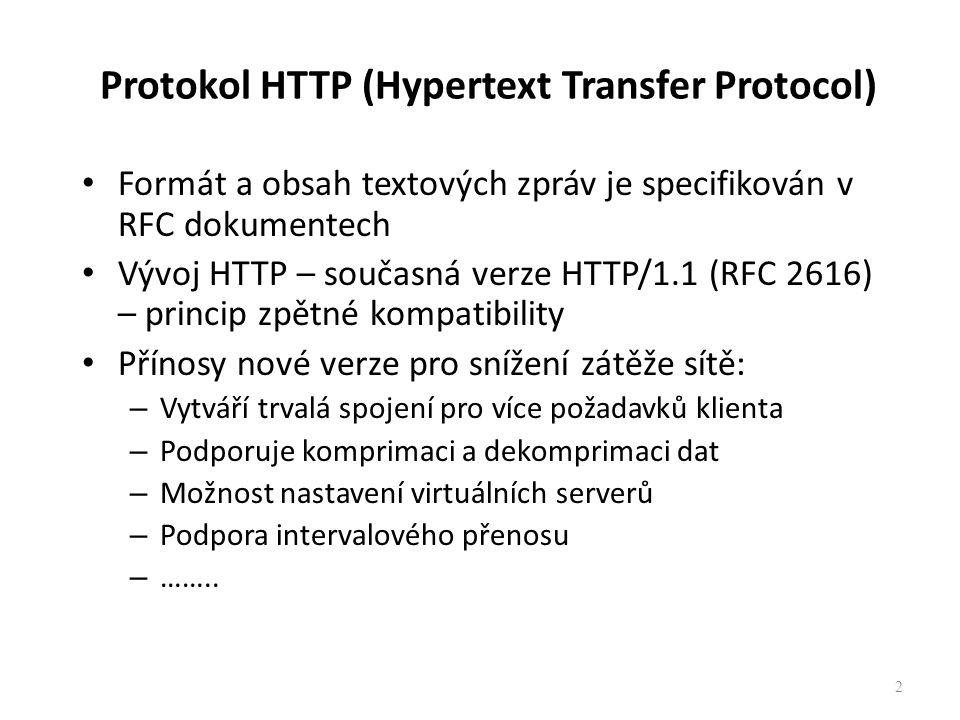 Protokol HTTP (Hypertext Transfer Protocol) Formát a obsah textových zpráv je specifikován v RFC dokumentech Vývoj HTTP – současná verze HTTP/1.1 (RFC