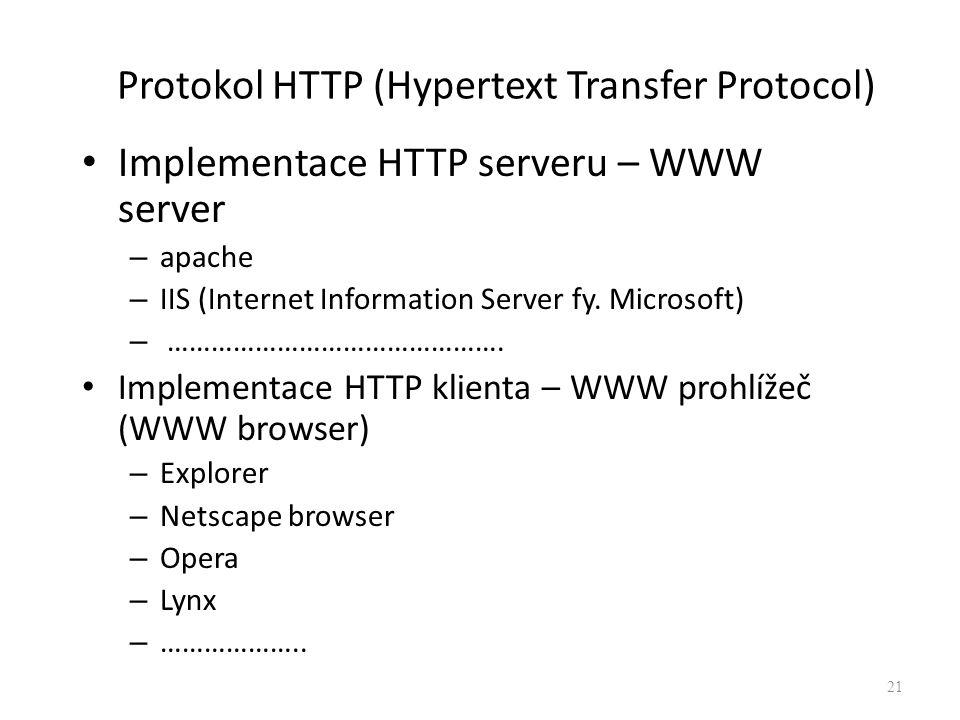 Protokol HTTP (Hypertext Transfer Protocol) Implementace HTTP serveru – WWW server – apache – IIS (Internet Information Server fy. Microsoft) – ………………