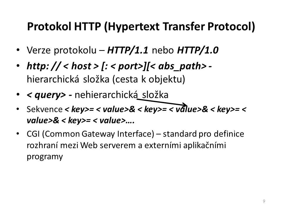 Protokol HTTP (Hypertext Transfer Protocol) Verze protokolu – HTTP/1.1 nebo HTTP/1.0 http: // [: ][ - hierarchická složka (cesta k objektu) - nehierar
